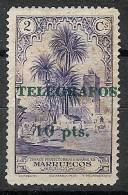 Marruecos Telegrafos 41 * Sobrecargados. 1936. Goma Alterada - Marruecos Español
