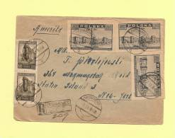 Pologne - Ciechanowiec - 7-9-1946 - Recommande Destination New York - 1944-.... Republic