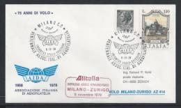 HZ-/-079-- VOL ALITALIA- MILANO - ZURIGO ,  VOL SPECIAL, 75 Eme ANN.  SERVICE AERO , 05/11/1978, Je Liquide !! - Poste Aérienne