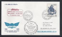 HZ-/-087-- VOL ALITALIA  - MILANO - ZURIGO ,  VOL SPECIAL, 75 Eme ANN.  SERVICE AERO , 05/11/1978, Je Liquide !! - Poste Aérienne