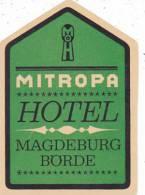 GERMANY MAGDEBURG MITROPA HOTEL VINATGE LUGGAGE LABEL - Etiketten Van Hotels