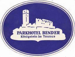 GERMANY KOENIGSTEIN PARKHOTEL BENDER VINATGE LUGGAGE LABEL