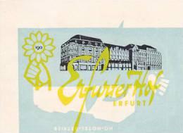 GERMANY ERFURT ERFURTER HOF VINTAGE LUGGAGE LABEL - Etiketten Van Hotels