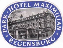 GERMANY REGENSBURG PARK HOTEL MAXIMILIAN VINTAGE LUGGAGE LABEL - Hotel Labels