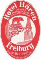 GERMANY FREIBURG HOTEL BAEREN VINTAGE LUGGAGE LABEL - Etiketten Van Hotels