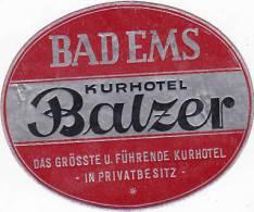 GERMANY BAD EMS KURHOTEL BALZER VINTAGE LUGGAGE LABEL