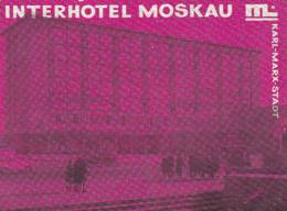 GERMANY KARL MARX STADT INTERHOTEL MOSKAU VINTAGE LUGGAGE LABEL - Hotel Labels
