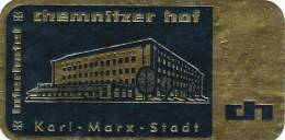 GERMANY KARL MARX STADT INTERHOTEL CHEMNITZER HOF VINTAGE LUGGAGE LABEL - Etiketten Van Hotels