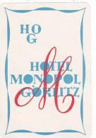 GERMANYGOERLITZ HOTEL MONOPOL VINTAGE LUGGAGE LABEL