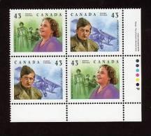 "CANADA, 1994. # 1526a, GREAT CANADIANS  WILLIAM AVERY BISHOP & MARY TRAVERS "" LA BOLDUC"" SINGER  LR - Blocks & Sheetlets"