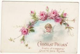 CHROMO Chocolat Poulain Ange Angelot Bébé Fleurs Roses - Poulain