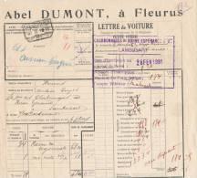 783/20 - Lettre De Voiture Cachet Gare FLEURUS 1931 Vers Gare D'AISEAU - Entete Abel Dumont - Zonder Classificatie