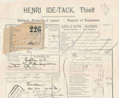 954/27 - Lettre De Voiture Cachet De FORTUNE BLEU / NOIR - Gare De THIELT 1919 Vers ESSCHEN - Zonder Classificatie