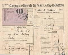 794/20 - Lettre De Voiture Cachet De Gare THY LE CHATEAU 1926 Vers ESSCHEN - Entete Cie Générale Des Aciers - Zonder Classificatie