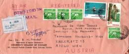 Air Mail Registerd Letter India CALCUTTA To VIENNA 1985 (131) - Indien