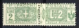 Regno VE3  Pacchi N. 13 Nodo Savoia Lire 2 Verde MNH Cat. € 125 - Postal Parcels