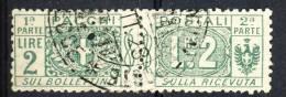 Regno VE3  Pacchi N. 13 Nodo Savoia Lire 2 Verde Usato - Postal Parcels