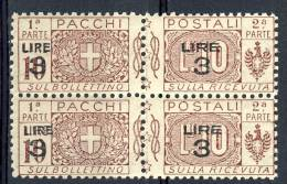 Regno VE3  Pacchi SS 2012 Nodo Savoia Sovrastampati N. 23 Coppia Verticale MNH - Postal Parcels