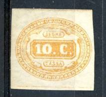 Regno VE2  Segnatasse N. 1 - C. 10 Giallo MH Firmato BIONDI Cat € 2500 - 1861-78 Vittorio Emanuele II