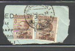 ITALIA COSTANTINOPOLI 1922 N°43 SU FRAMMENTO - Uffici D'Europa E D'Asia