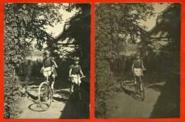 PHOTO (LOT De 2) Petites Filles à Bicyclette - Vélo ENFANCE Child Children Infancia Infanzia Kindheit Kind - Ciclismo