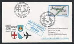 AZ-/-048.--VOL ALITALIA  - MILANO - ZURIGO ,  VOL SPECIAL, 50 Eme ANN.  SERVICE AERO , 20/10/1982, Je Liquide !! - Poste Aérienne
