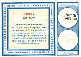 Coupon Réponse IRC France 0,80 Francs - C 22 Toulon Principal - Coupons-réponse