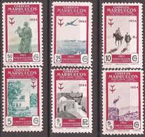 MA394-L4074TARM.Maroc Espagnol.Spanish Morocco MARRUECOS ESPAÑOL PRO TUBERCULOSOS 1954 (Ed 394/99**)sin Charnela LUJO - Mezquitas Y Sinagogas