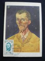 H374 . CM PREMIER JOUR VAN GOGH 10 NOV.1956 PORTRAIT PEINTRE EUGENE BLOCH - Maximum Cards