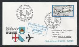 JZ-/-131--  VOL ALITALIA  - MILANO - ZURIGO ,  VOL SPECIAL, 50 Eme ANN.  SERVICE AERO , 20/10/1982, Je Liquide !! - Poste Aérienne
