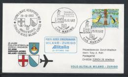 HZ-/-083-- VOL ALITALIA  - MILANO - ZURIGO ,  VOL SPECIAL, 50 Eme ANN.  SERVICE AERO , 15/10/1982, Je Liquide !! - Poste Aérienne