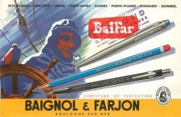Buvard Réf.029. Baignol Et Farjon - Baifar - Stylos, Crayons - Loup De Mer - Stationeries (flat Articles)