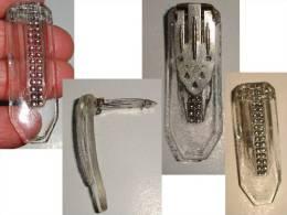 P/ ANCIEN BOUTON BROCHE PINCE CLIP DE CORSAGE VINTAGE*VERRE TAILLE PETITS POINTS ARGENT*TCHECOSLOV - Jewels & Clocks