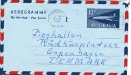 Australia Aerogramme Sent To Denmark Townsville 18-8-1960 With Archive Holes - Aerogrammes