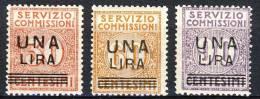 Regno VE3 Servizio Commissioni SS. 2501 N. 4-6 Soprastampati UNA LIRA. MNH Freschissimi  Cat.€ 650 - 1900-44 Vittorio Emanuele III