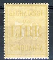 Regno VE3 Segnatasse SS 2305 N. 31 Lire 50 Giallo, MNH Centratissimo, Freschissimo Cat. € 940 - 1900-44 Vittorio Emanuele III