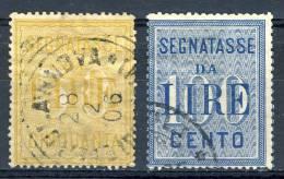 Regno VE3 Segnatasse SS 2305 N. 31 - 32, Lire 50 Giallo / Lire 100 Azzurro. Usati Cat. € 85 - 1900-44 Vittorio Emanuele III