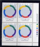 CANADA, 1987, # 1146 , QUEBEC SUMMIT SYMBOL  LR MNH - Blocks & Sheetlets