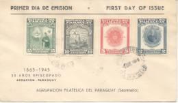 PARAGUAY 50 AÑOS DE EPISCOPADO 1895-1945 ERROR EN EL SOBRE DICE 1865-1945 SERIE COMPLETA CIRCULEE RARE ERREUR - Paraguay