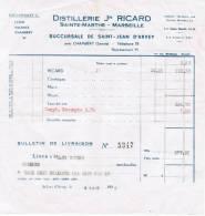 1938 DISTILLERIE Jh RICARD SAINTE-MARTHE MARSEILLE SUCCURSALE DE SAINT--JEAN D'ARVEY PRES CHAMBERY SAVOIE LYON VALENCE - 1900 – 1949