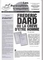 Les Polarophiles Tranquilles 10 Frederic Dard Ou La Creve D´etre Homme 4 Pages - San Antonio