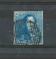 Belgique N°2  20ct Bleu  Oblitéré (cote 70€) Vendu A 20% - 1849 Schulterklappen