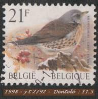 1998 - Europe - Belgique - 21 F. Grive Litorne - - Passereaux