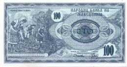 "MACEDONIA, Tobacco Harvest,""Ilinden Monument, Krushevo""100 DENARI 1992,P#4a,UNC,ERROR BANKNOTE,SEE SCAN - Macedonia"