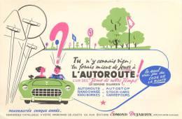 Buvard Réf.068. L´autoroute - Jeux De Notre Temps D´Edmond Jardin - Voitures, Panneaux, Code De La Route