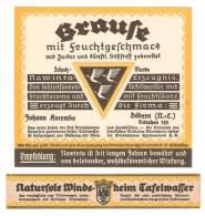 Etikett BRAUSE TAFELWASSER, Johann Kocemba, Döbern N.L., Nawinta Erzeugnis, Windsheimer Quellvertrieb KG - Bier
