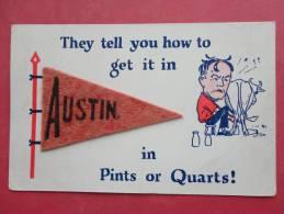 Felt Pennant  Austin    Milking A Cow -ref - 894 - Postcards