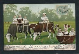 ENFANTS - BEBES - Jolie Carte Fantaisie Bébés Avec  Vaches - Neonati