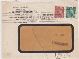 """1940 - ENVELOPPE Avec MARQUE De FORTUNE """"INADMIS"""" X2 + """"RETOUR à L´ENVOYEUR"""" De PARIS - MERCURE - Marcophilie (Lettres)"""