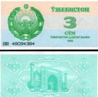 Uzbekistan #62a, 3 Sum, 1992, UNC - Usbekistan